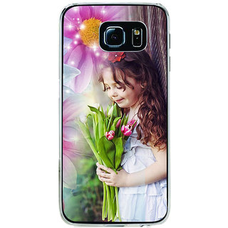 ifasho Girl with flower in hand Back Case Cover for Samsung Galaxy S6 Edge