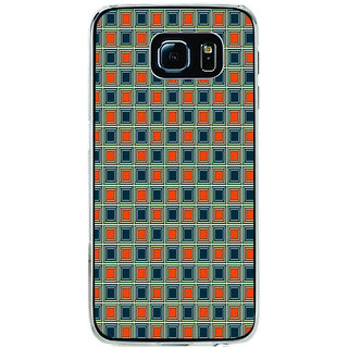 ifasho Colour Full Square Pattern Back Case Cover for Samsung Galaxy S6 Edge
