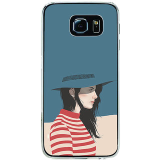 ifasho Girl with Blue Cap and Red strip skirt Back Case Cover for Samsung Galaxy S6