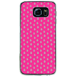 ifasho Animated Pattern design white flower in pink background Back Case Cover for Samsung Galaxy S6