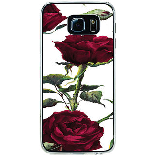 ifasho Animated Pattern colorful rose flower with leaves Back Case Cover for Samsung Galaxy S6 Edge