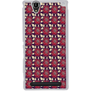ifasho Animated Pattern black and white many lotus flower Back Case Cover for Sony Xperia T2