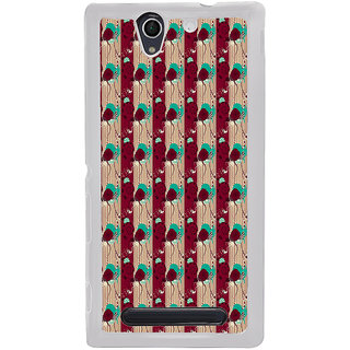 ifasho Animated Pattern design colorful flower in vertical stripe Back Case Cover for Sony Xperia C4