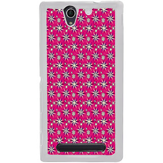 ifasho Pattern green white and red animated flower design Back Case Cover for Sony Xperia C4