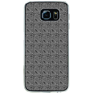 ifasho Animated Pattern design black and white flower in royal style Back Case Cover for Samsung Galaxy S6
