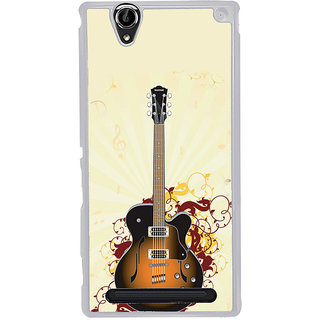 ifasho Modern Art Design Pattern Music Instrument Guitar Back Case Cover for Sony Xperia T2