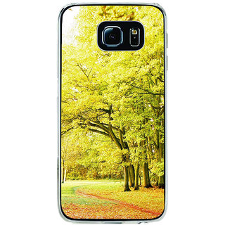 ifasho Green trees with red leaves on the road Back Case Cover for Samsung Galaxy S6