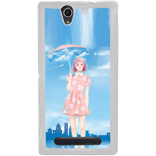 ifasho young Girl with umbrella painting Back Case Cover for Sony Xperia C4