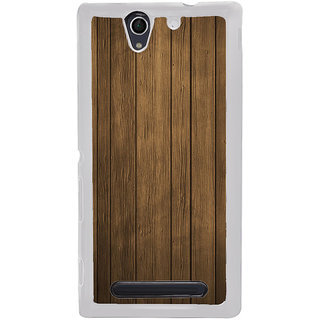 ifasho Brown Wooden Pattern Back Case Cover for Sony Xperia C4