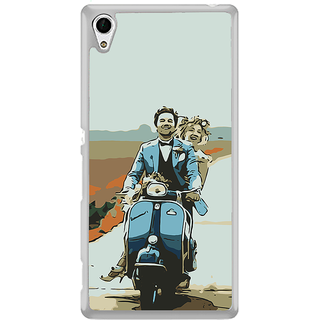 ifasho husband and wife happy drive in scooter Back Case Cover for Sony Xperia M4 Aqua