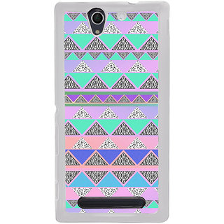 ifasho multi color Triangular Pattern Back Case Cover for Sony Xperia C4