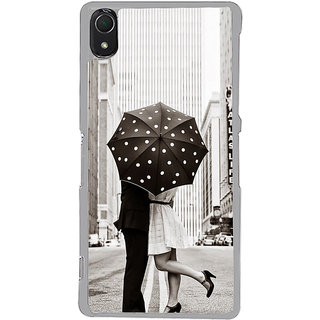 ifasho couple kissing in rain with umbrella Back Case Cover for Sony Xperia Z3