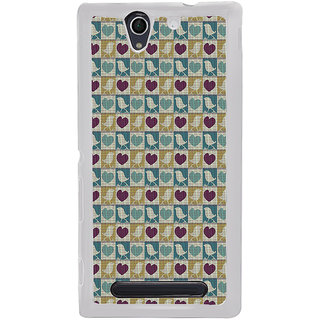 ifasho Animated Pattern birds and heart small size  Back Case Cover for Sony Xperia C4