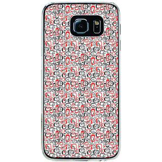 ifasho Modern Theme of colorful Squre inside square and dots Back Case Cover for Samsung Galaxy S6 Edge