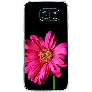 ifasho Flower Design Pink flower in black background Back Case Cover for Samsung Galaxy S6