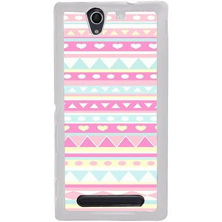 ifasho multi color Triangular and love Pattern Back Case Cover for Sony Xperia C4