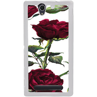 ifasho Animated Pattern colorful rose flower with leaves Back Case Cover for Sony Xperia C4