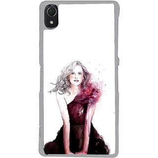ifasho Cute Winking Girl painting Back Case Cover for Sony Xperia Z3