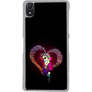 ifasho Animated Pattern With Love and heart and Ishq Back Case Cover for Sony Xperia Z3