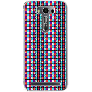 ifasho Colour Full Square Pattern Back Case Cover for Zenfone 2 Laser ZE500KL
