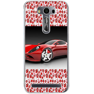 ifasho Stylish RED Car Back Case Cover for Zenfone 2 Laser ZE500KL