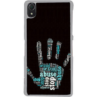 ifasho Modern Art Design  words in palm stop abuse Back Case Cover for Sony Xperia Z3