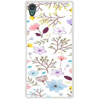 ifasho Animated Pattern colrful design flower with leaves Back Case Cover for Sony Xperia Z5