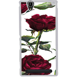 ifasho Animated Pattern colorful rose flower with leaves Back Case Cover for Sony Xperia T2