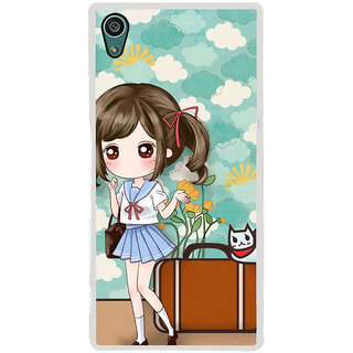 ifasho Cute Girl with bag and Small Cat Back Case Cover for Sony Xperia Z5