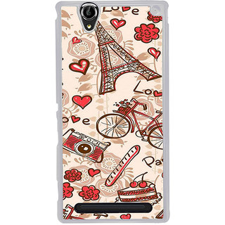 ifasho Modern Art Design Pattern Bicycle camera cake tower Back Case Cover for Sony Xperia T2
