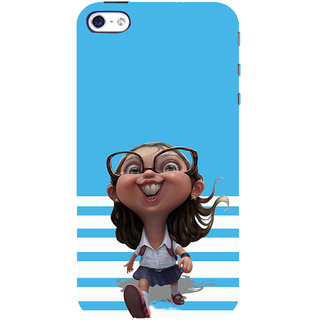 ifasho Cute Girl with Specs running to school cartoon Back Case Cover for Apple iPhone 5