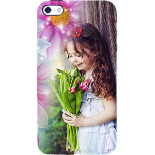ifasho Girl with flower in hand Back Case Cover for Apple iPhone 5