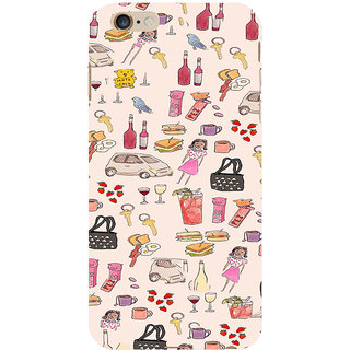 ifasho Modern Art Design Pattern girl shop car food bird Back Case Cover for Apple iPhone 6S Plus