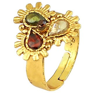 Multi Color Simulated Stone Gold Plated Rings Jewelry RG-0257