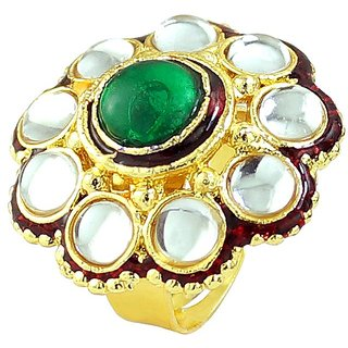 Emearld Stone Simulated Enamel Gold Plated Rings Jewelry RG-0266