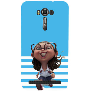ifasho Cute Girl with Specs running to school cartoon Back Case Cover for Asus Zenfone 2 Laser ZE601KL