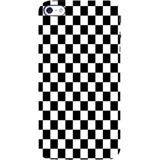 ifasho Squre and Checks In black and white Pattern Back Case Cover for Apple iPhone 5