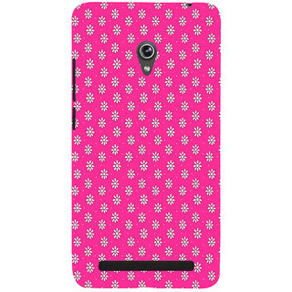 ifasho Animated Pattern design white flower in pink background Back Case Cover for Asus Zenfone 5