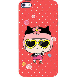 ifasho Cute Girl with Specs and Small Cat Back Case Cover for   5