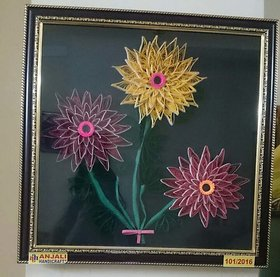 Handmade Classical Quilling Paper Flower Art With Wooden Frame