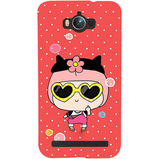 ifasho Cute Girl with Specs and Small Cat Back Case Cover for Asus Zenfone Max