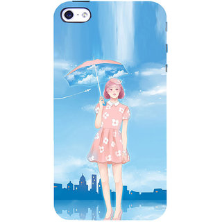 ifasho young Girl with umbrella painting Back Case Cover for Apple iPhone 5