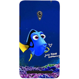 ifasho Fish cartoon just keep swimming Back Case Cover for Asus Zenfone 6
