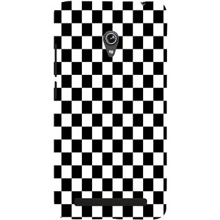 ifasho Squre and Checks In black and white Pattern Back Case Cover for Asus Zenfone 5