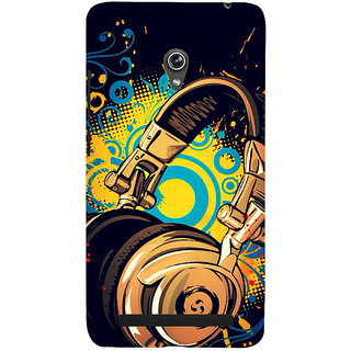 ifasho Modern Art Design Pattern animated Music Ins3Dument head phone Back Case Cover for Asus Zenfone 6
