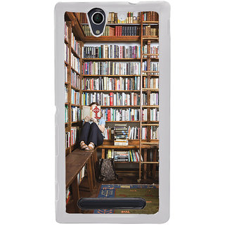 ifasho colrful design library pattern Back Case Cover for Sony Xperia C4