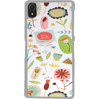 ifasho Animated Pattern colrful flower with leaves Back Case Cover for Sony Xperia Z3