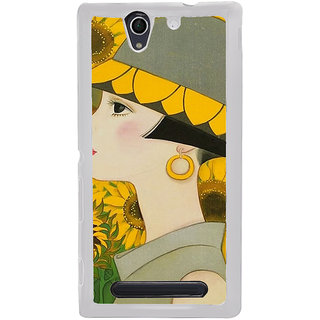 ifasho Painted Girl and flower Back Case Cover for Sony Xperia C4