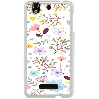 ifasho Animated Pattern colrful design flower with leaves Back Case Cover for Yureka