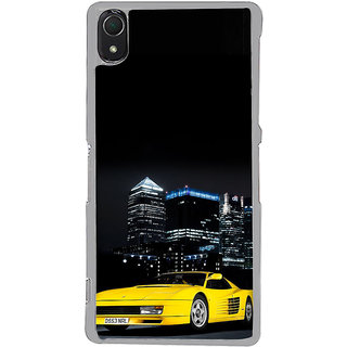 ifasho Stylish Yellow Car Back Case Cover for Sony Xperia Z3